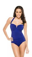 TOMMY BAHAMA PEARL SOLIDS V WIRE HALTER ONE PIECE SWIMSUIT BLUE SIZE 14 NEW