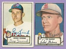 """SIGNED 2 CARD LOT"" 1952 TOPPS BASEBALL AUTO AUTOGRAPH MAHONEY ZUVERINK #58 199"