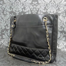 Rise-on CHANEL Matelasse Lamb Skin Black Chain Shoulder bag Tote bag #843