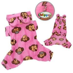 Klippo Pet KBD036MZ Adorable Silly Monkey Fleece Dog Pajamas & Bodysuit With ...