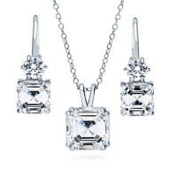 BERRICLE 925 Silver Asscher CZ Solitaire Bridesmaids Necklace and Earrings Set