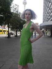 Häkelkleid KLEID S-M 70er Hippie GRÜN Unikat TRUE VINTAGE knit dress 70s