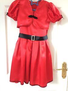 Handmade Girls Satin Red Dress Age 6-7yrs, black & diamante trim, bolero jacket