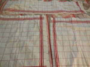 Vintage White Red Cotton Fabric Kitchen 2 Curtain Panels & Valance
