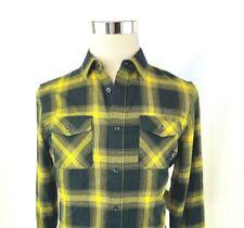 VANS Cepillado Franela Corte Clásico Botón Frontal Camisa Negro Amarillo Mens S