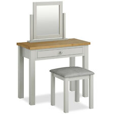 Farrow Grey Dressing Table Set with Stool & Mirror / Solid Wood with Oak Top