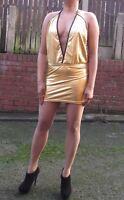 Gold Glitter Party Dress Metallic Ladies Halter Neck Short Mini Dress8-20   525
