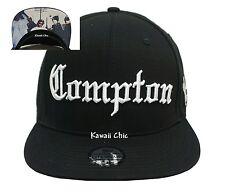 Compton Black Embroidered Flat Bill Snapback Baseball Cap Unisex Hats