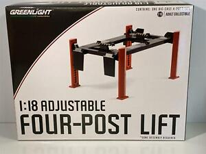 Red and Grey Adjustable Four Post Lift 1:18 Scale Greenlight 13592