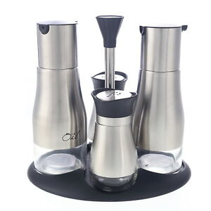 Menage Set 4tlg Essig Öl Salz Pfeffer Gewürzset Spender Silber Edelstahl Glas