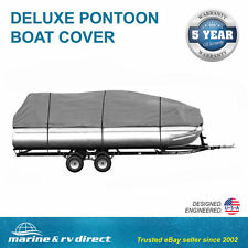 DELUXE- Four Seasons Brand PREMIUM 17 - 19 FOOT PONTOON Boat Cover GRAY