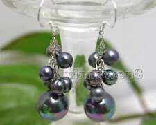 6-7mm Round Black Natural Pearl Earring and 12mm Sea Shell Pearl Dangle Earring