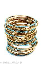 Amrita Singh Eileen Turquoise & Gold 33 Piece Bangle Set Size 8 NEW $100 BBM679