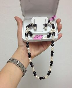 Freshwater Pearl and Onyx Bead Jewelry Set in Stainless steel