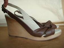 DOROTHY PERKINS UK 8 BROWN PLATFORM WEDGE SLINGBACK SANDALS
