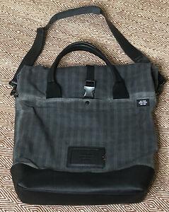 JACK SPADE GRAY WAXED COTTON CANVAS Laptop Messenger Bag + Shoulder Strap
