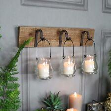 Rustic wall mounted hook glass jar lantern tealight candle holder vintage gift