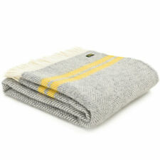 TWEEDMILL KNEE RUG 100% Wool Throw Blanket FISHBONE SILVER GREY YELLOW STRIPE