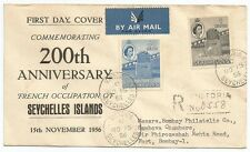 Seychelles 1956 Bicentenary French Occupation registered 40c + 1R FDC to India