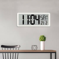 LED Digital Wall Clock Date Temperature Display Large Number Electronic Clock