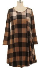 NWT Plus 1XL 12/14 Black Brown Plaid Velvet Stretch Pocket Swing Dress Tunic Top