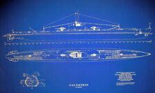 "WW2 US Navy Submarine USS Nautilus SS168 Ships Plan Blueprint (18""x32"" (153)"