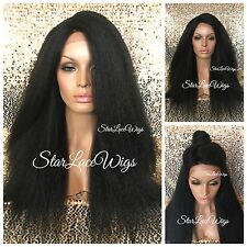 Lace Front Wig Long Yaki Kinky Straight Off Black #1b Side Part Layers Heat Safe