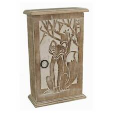 WALL KEY BOX CUPBOARD FOX DESIGN 28CM SHABBY CHIC HAND CARVED MANGO WOOD