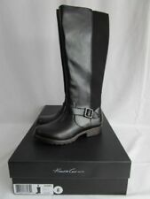 Kenneth Cole Women's Jenny Black Stretch Leather Tall Boots With Buckle (Size 6)