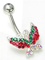 "14g 7/16"" Multi-Colored Jewel Explosion Butterfly Belly Button Ring"