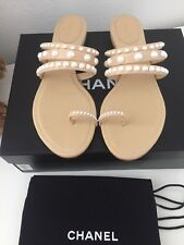 BNIB Auth Chanel Thongs Sandals Pearl Flip Flops Lambskin Beige Sz38.5