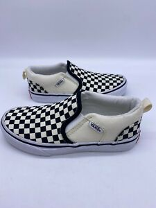 Vans Off The Wall Checkered Black & Ivory Slip On Sneakers Shoes Kids' Size 1