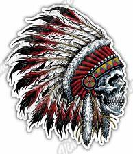 "Indian Chief Head Skull Native American USA Car Bumper Vinyl Sticker Decal 4""X5"""