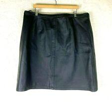 NEW! Newport News Leather Mini Skirt Womens Plus Size 22W Black Lined Short VTG