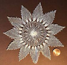Vintage knotted lace star shape doily