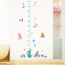 Spongebob Squarepants Coral Jelly Fish Growth Chart Kids Wall Stickers Decor DIY