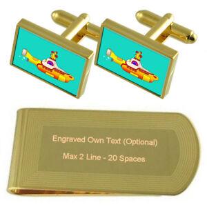 Yellow Submarine Gold-Tone Cufflinks Money Clip Engraved Gift Set