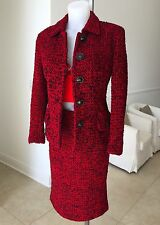 1995 vintage GIANNI VERSACE COUTURE red & black wool boucle skirt suit size 8 42