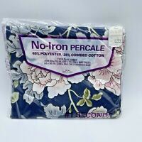 No Iron Percale Floral Twin Flat Sheet NOS #1 Seconds Made in USA Vintage