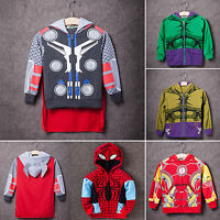 Kids Boy Iron Man Spiderman Hoodie Coat Jacket Sweatshirt Jumper Sweater Tops