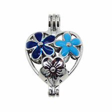 3 pcs Lot Enamel Metal Floral Heart Shaped Pearl Cage Pendant Locket Charm