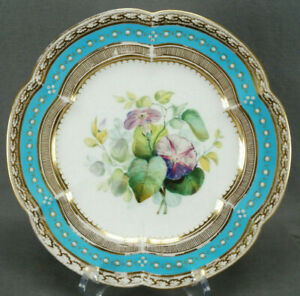 Coalport 6/886 Hand Painted Flowers White Enamel Jeweled Turquoise Plate E
