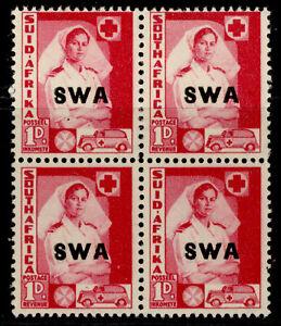 SOUTH WEST AFRICA GVI SG115, 1d carmine, M MINT. Cat £10. BLOCK X 4