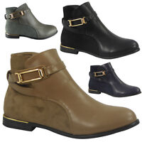 New Womens Ladies Gold Strap Low Heel Ankle Casual Work Chelsea Boots Shoes Size