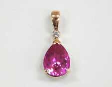 Rose Gold Plated Sterling Silver Diamond & Hot Pink Gemstone Pendant Pear-Shaped