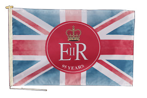 Queen Elizabeth 95th Birthday Faded Jack Flag With Rope & Toggle - Various Sizes