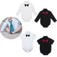 Baby Boys Gentleman Costume Sleeved Romper Dress Shirt+Bowtie Bodysuit Outfits
