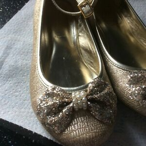 Monsoon Gold Glittery Occasion Shoes, Flats Size 2 Good Condition