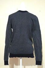 Hugo Boss Men's Slim Fit Navy Grey Crew Neck Jumper Wool Blend Size S - M