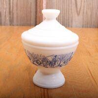 Vintage Covered Bowl & Lid Made In Belgium White & Blue Asian Scene Milk Glass
